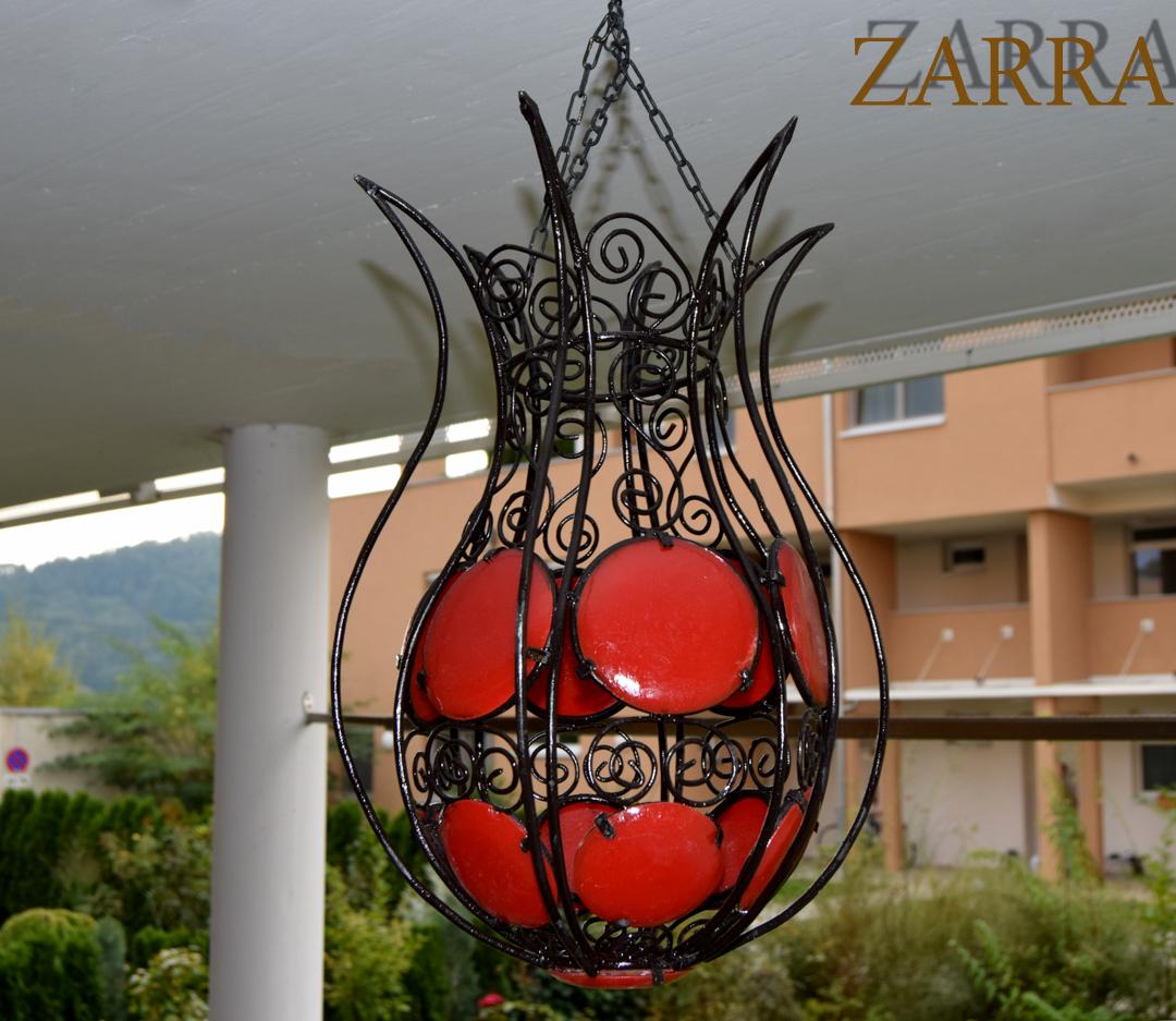 Orientalische h ngelampe metall tounga rot zarra for Orientalische wandlampen metall